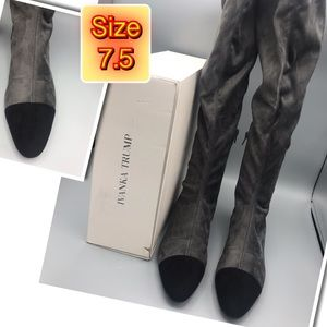 Over the knee gray & black suede boot size 7.5